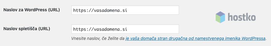 Primer nastavitev URL