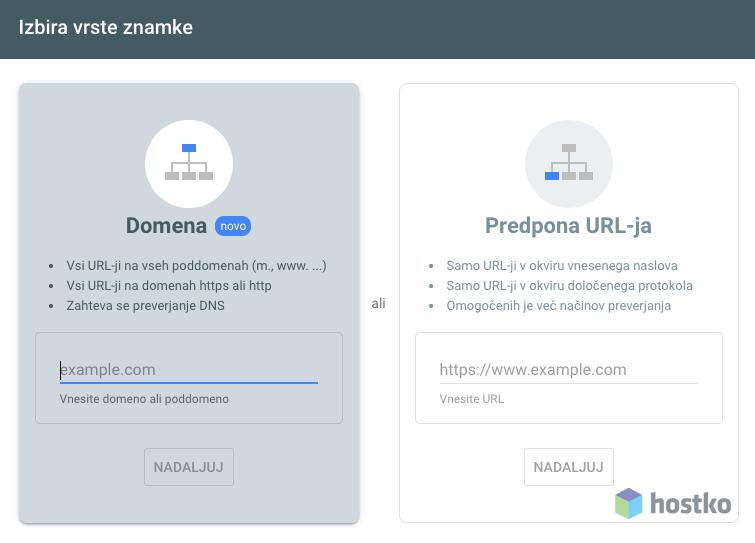 Dodajanje strani v Google Search Console